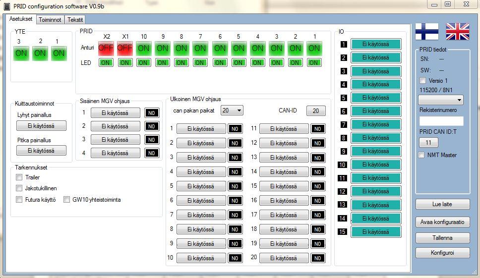 PRID konfigurointiohjelman kuva